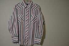 Wrangler Red Blue White Western Pearl Snap Long Sleeve Shirt - Size Large
