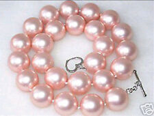 Beautiful Real South pink  shell pearl Necklace 12mm