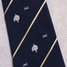 J&C HAND-DRILL LOGO TIE VINTAGE RETRO CLUB ASSOCIATION COMPANY STRIPED 1970s