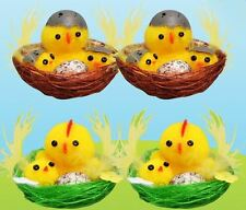 Assorted Colour Chicks Family in Nests Easter Decoration Bonnet Mini Party Egg
