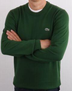Lacoste Mens Jumper size Large (5) BNWT Green Khaki Crew Neck Cotton AH3467