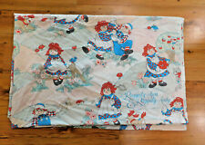 Vintage Raggedy Ann and Raggedy Andy Sheet Twin Sized Flat Sheet Fabric 1989