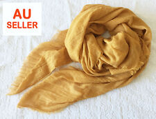 Large Soft Cotton Linen Blanket Scarf Wrap Shawl Vintage Mustard Yellow Fringed