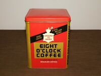 """VINTAGE KITCHEN 7 1/2"""" HIGH EIGHT O'CLOCK COFFEE  TIN CAN *EMPTY*"""