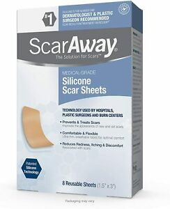 """SCARAWAY Silicone Scar Sheets Burns,Surgery, Old/New Scars Reusable (8) 1.5""""x3"""""""