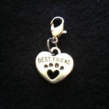 Pet Cat Best Friend Paw Heart Metal Collar Charm Silver Tone Kitten
