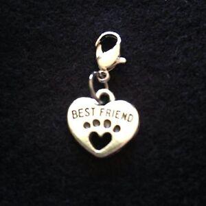 Dog Best Friend Collar Charm Silver Tone Metal Heart Pet Puppy