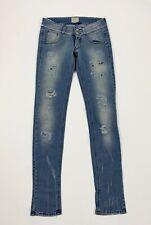 Met jeans donna usato W26 tg 40 skinny gamba stretta destroyed denim blu T6393