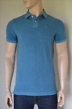 NEW Abercrombie & Fitch Classic Big Icon Polo Shirt Washed Teal Moose Logo S