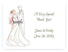 100 Personalized Custom Bride and Groom Wedding Bridal Thank You Cards