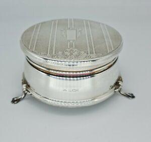 Beautiful Engine Turned Solid Silver Ring Wedding Jewellery Box W I Broadway