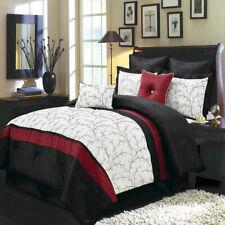 Luxury Embroidered Atlantis Comforter Set Bed In A Bag 6-8-Piece Ivory & Black