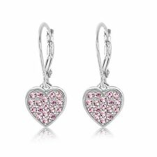 Kids Earrings 925 Sterling Silver White Gold Tone Classic Clear Crystal Heart