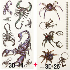 2x Style Temporary Tattoos 3D Cool Spider Scorpion Waterproof Tattoos Sticker