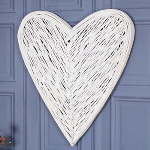 Large Wicker Wall Art Heart White Mounted Hanging Shabby Vintage Chic Decoration
