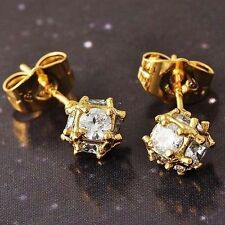 safety small clear crystal Gold Filled womens Round earings Stud Earrings 1pair