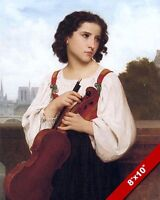 YOUNG WOMAN GIRL WITH VIOLIN IN PARIS OIL PAINTING ART REAL CANVAS GICLEEPRINT