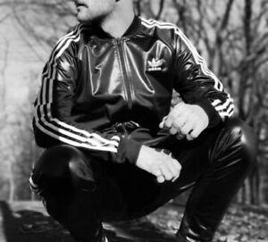 RARE Adidas Chile 62 Originals Sexy Chav Tracksuit Jacket Shiny Leather XS