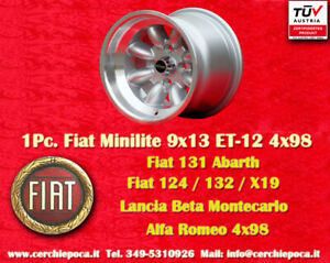 1 Cerchio Fiat 124 131 X19 Lancia Minilite 9x13 ET-12 Wheel Felge Llanta Jante