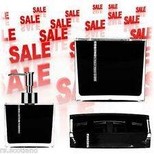 Black Acrylic with Crystals Bathroom Accessories Set 3 Pieces WarehouseClearance