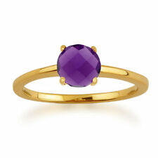Solitaire Not Enhanced Amethyst Yellow Gold Fine Rings
