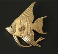 Vintage tropical fish pin brooch gold tone Metal with crystals