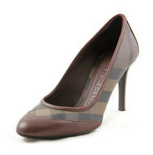 Burberry Halifax Smoked Brown Check Leather Pump Size 9.5