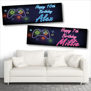 2 PERSONALISED GAMING - CONSOLE - BIRTHDAY BANNERS - BOY OR GIRL - X BOX - PSP