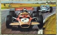 """1969 British Grand Prix f1 J RINDT LOTUS FORD Michael Turner 7 1/2 """"X 4 1/2"""" LA PITTURA"""