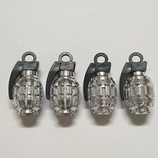 4 x Silver Grenade Bomb Exterior Wheel Tyre Tire Valve Stems Air Dust Cover Caps