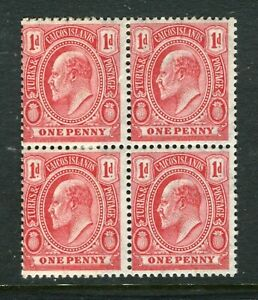 TURKS CAICOS; Early 1900s ED VII issue fine MINT MNH 1d. BLOCK