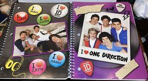 Lot of 2 One Direction Spiral Notebooks Harry, Louis, Zayn, Liam, Niall School