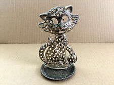 """Vintage Metal Cat Earring Holder Small Plate Dish Ashtray 5.5"""" T"""