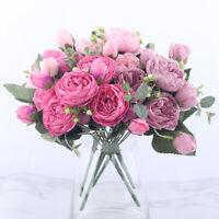 Artificial Silk Fake Flowers Peony Wedding Bridal Bouquet Vase Home Decor Set