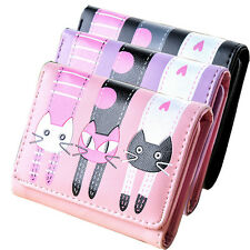 Women's Girls Cat Pattern Coin Purse Clutch Leather Wallet Card Holders Gifts BN