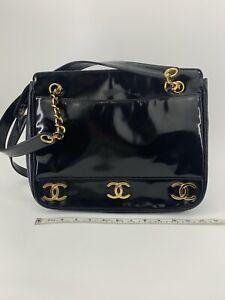 CHANEL Vintage Triple CC Logo Shoulder Tote Bag Purse Black Patent Leather 10633