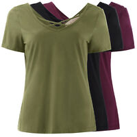 Women's Summer Casual Short Sleeve V-Neck Bandage Tee Shirts Cotton Top Blouses