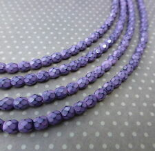 Fire polished czech glass beads 4mm SNAKE LILAC - 38 beads per strand