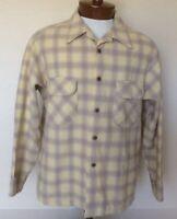 Pendleton VTG Mens XL Yellow Gold Shadow Plaid Surfer Board Shirt Loop Collar