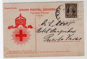 CHILE 1913 15c Red Cross card circulate Los Andes to Puerto Varas RARE