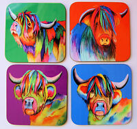 Set of four colourful HIGHLAND COW coasters by artist Maria Moss