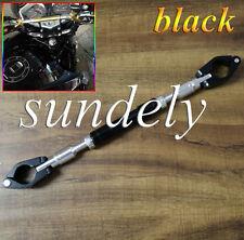 "Black BIKE Motorcycle Handlebar Brace & Clamp bar Set 7""/8"" handle UK"