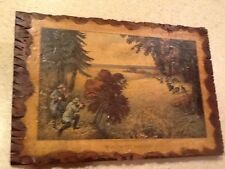 Vintage Currier & Ives Litho Wild Turkey Shooting Decoupage Wood Plaque