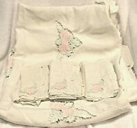 VTG Ivory Machine Embroidered Cut Work Tablecloth Napkins Pink Flower Green Leaf