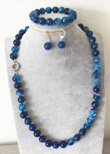 AAA 10mm Natural Blue Stripe Agate Round Beads Necklace Bracelet Earring Set