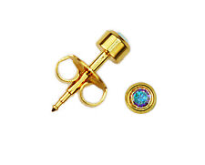 24K Gold Over Surgical Steinless Steel Ear Piercing Aurora Borealis Stud Earring