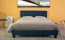 New Bold Tones Velvet Tufted Platform Bed Frame Queen Size