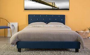 New Bold Tones Velvet Tufted Platform Bed Frame Queen Size
