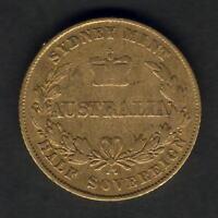 Australia. 1856 Sydney Mint - Half Sovereign..  aFine - Trace Lustre