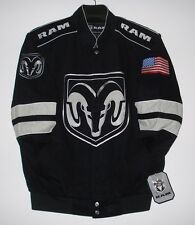 Size XXL Authentic Dodge Ram   Embroidered Cotton Jacket JH Design Black New 2XL